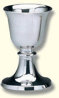 Einzelkelch,Messing, versilbert, poliert, 7cm hoch, cupa Ø 4,5cm
