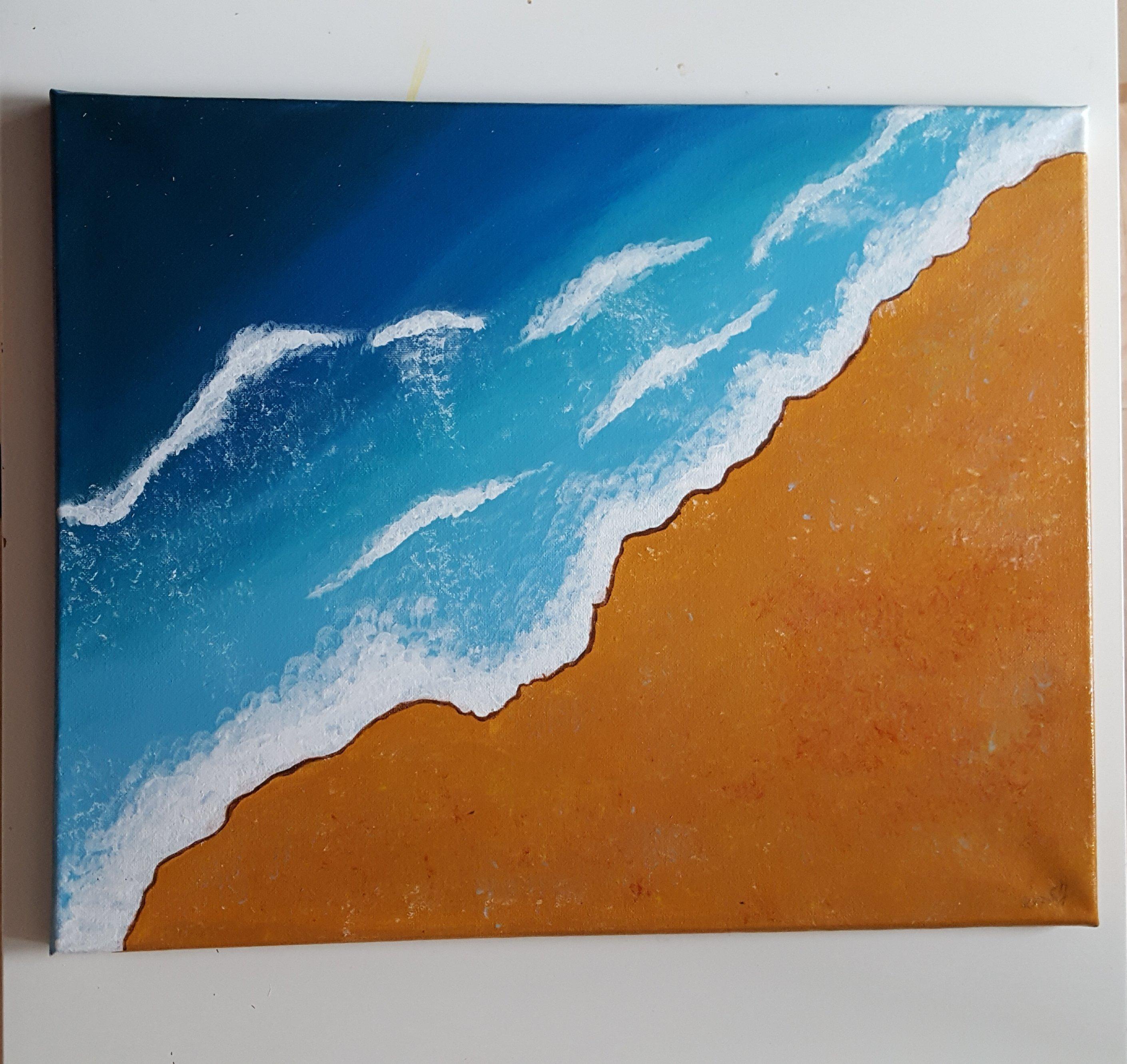 Land & Meer 2   Acryl Gemälde auf Keilrahmen 40x50 cm 2cm Höhe .  Signatur Sarah Jade S.J 11