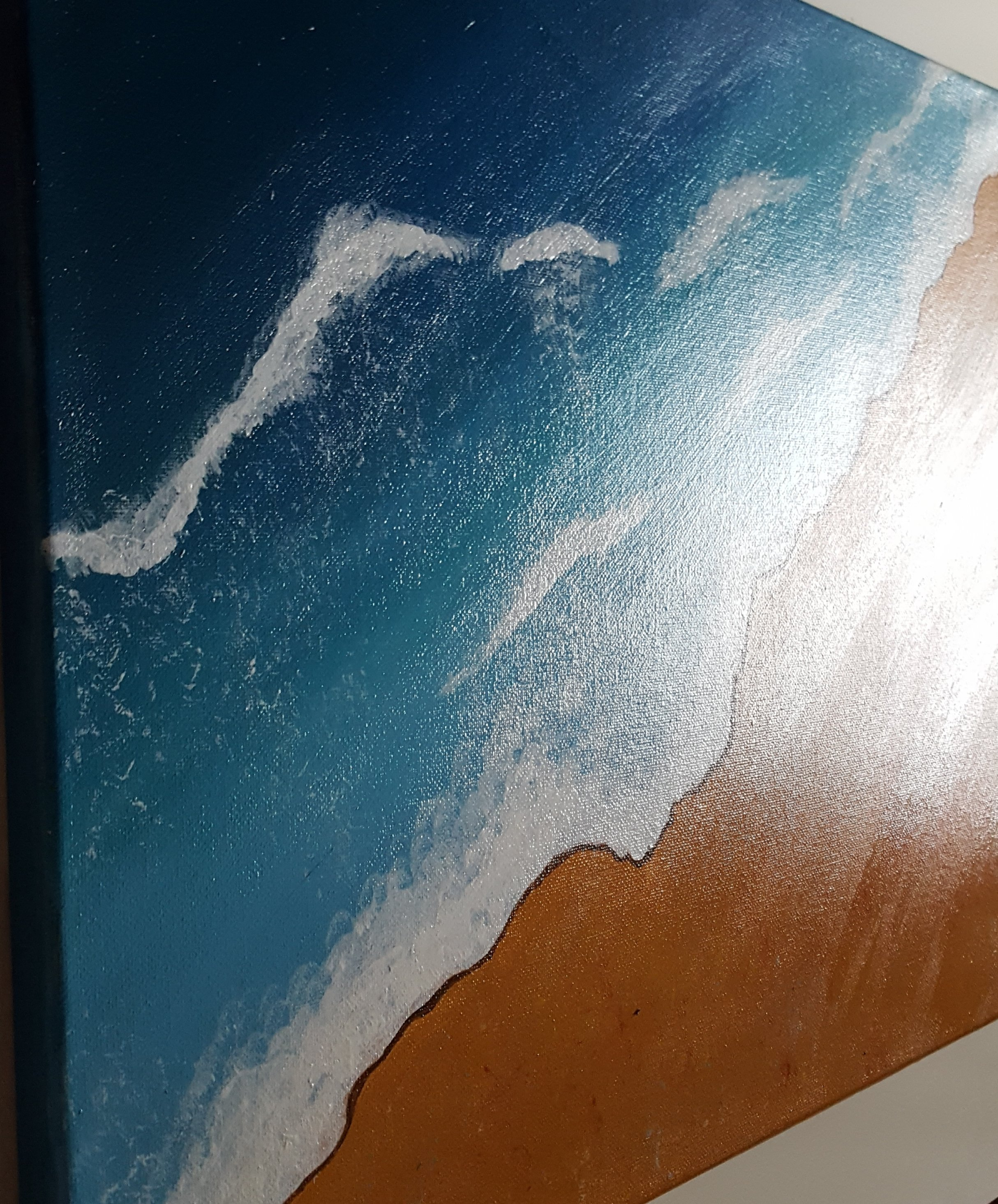 Land & Meer 2   Acryl Gemälde auf Keilrahmen 40x50 cm 2cm Höhe .  Signatur Sarah Jade S.J