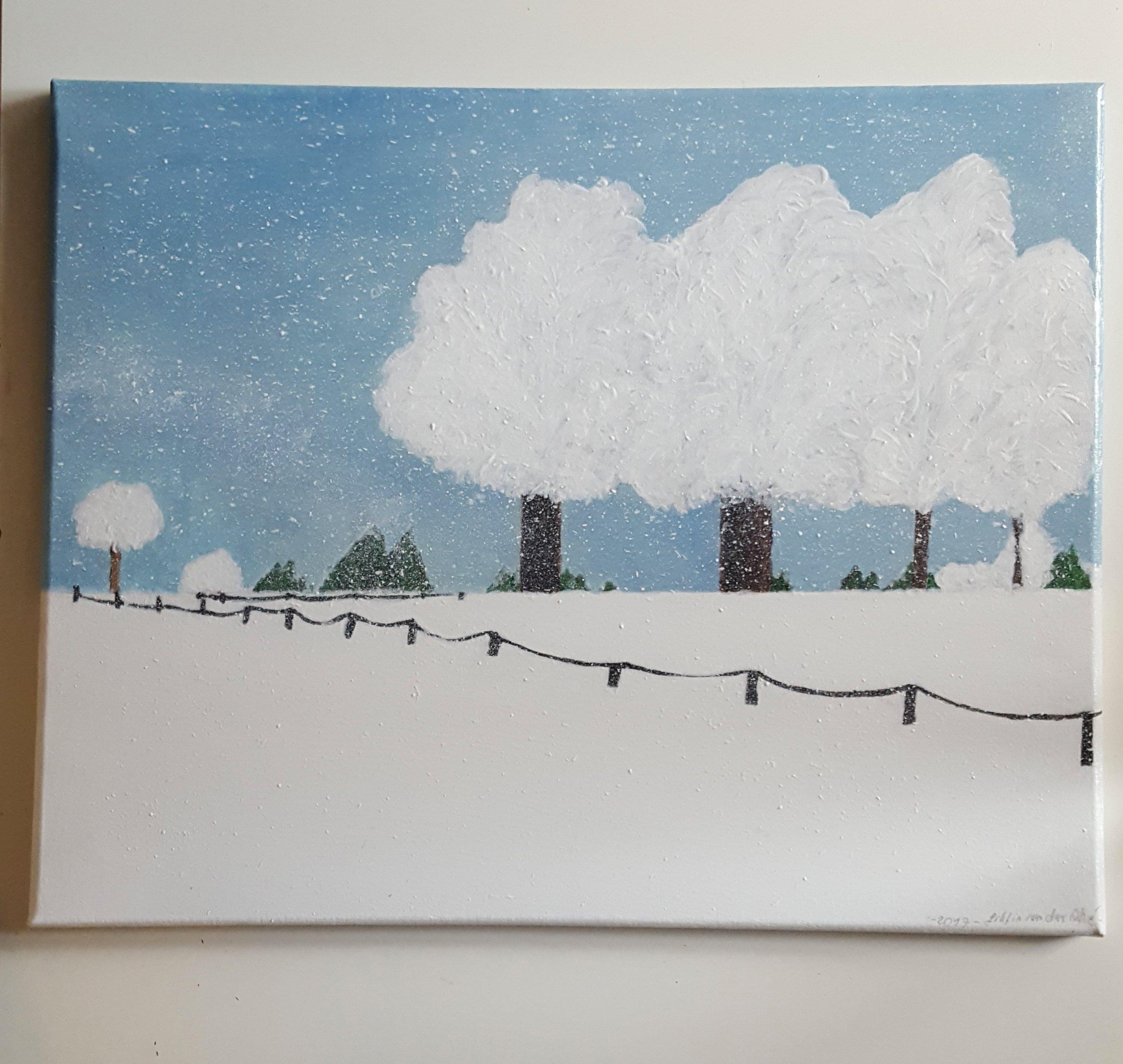 Winter auf dem Land   Gräfin von der Ahé    handgemaltes Acryl Bild auf einer 40x50 cm Leinwand auf Keilrahmen 23