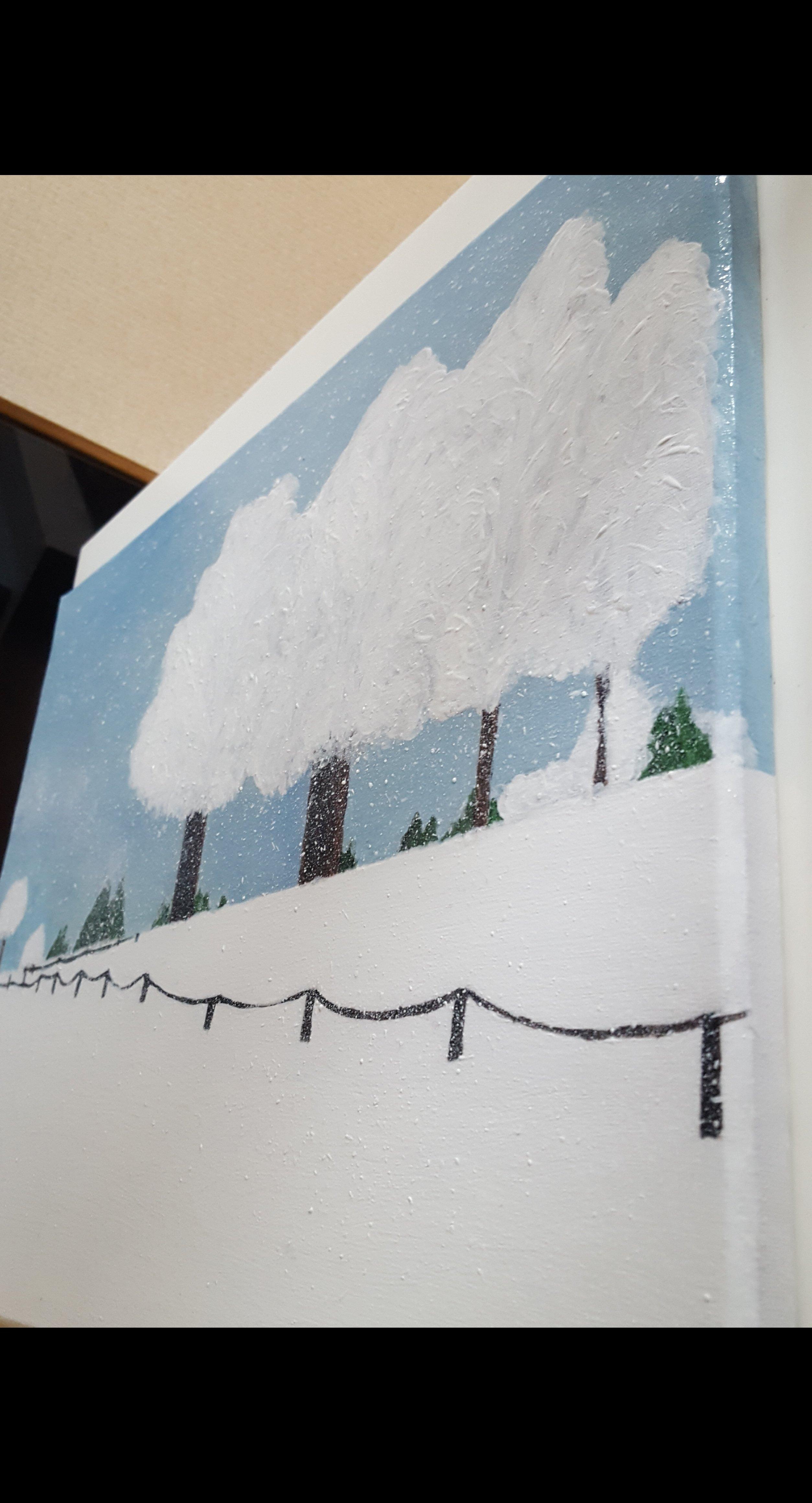 Winter auf dem Land   Gräfin von der Ahé    handgemaltes Acryl Bild auf einer 40x50 cm Leinwand auf Keilrahmen