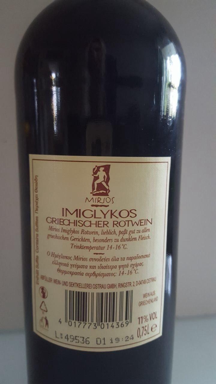 Mirios Imiglykos Rotwein 0,75 l Flasche