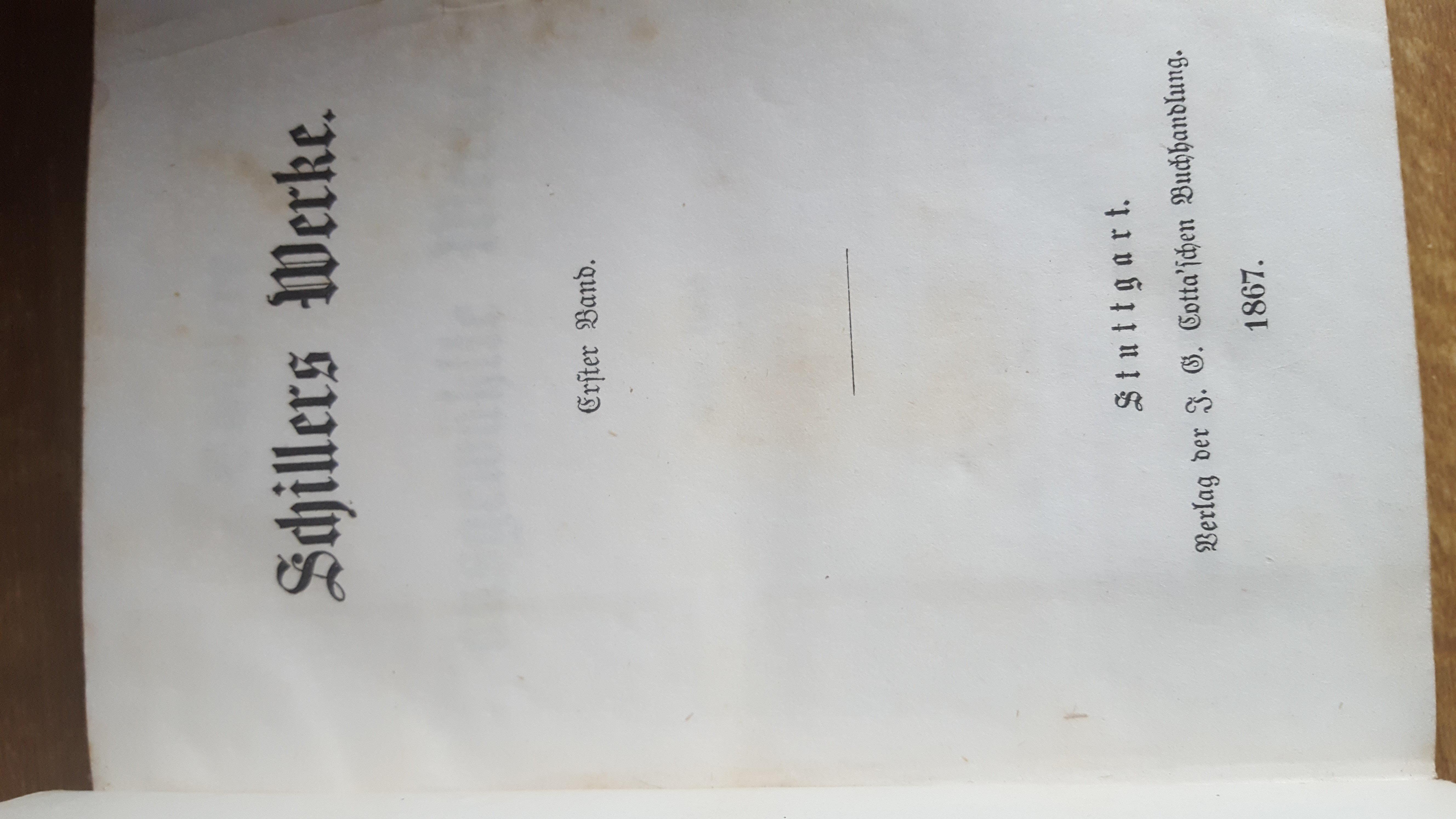 Schillers ausgewählte Werke 12 Bände in 6 Büchern   1867 .