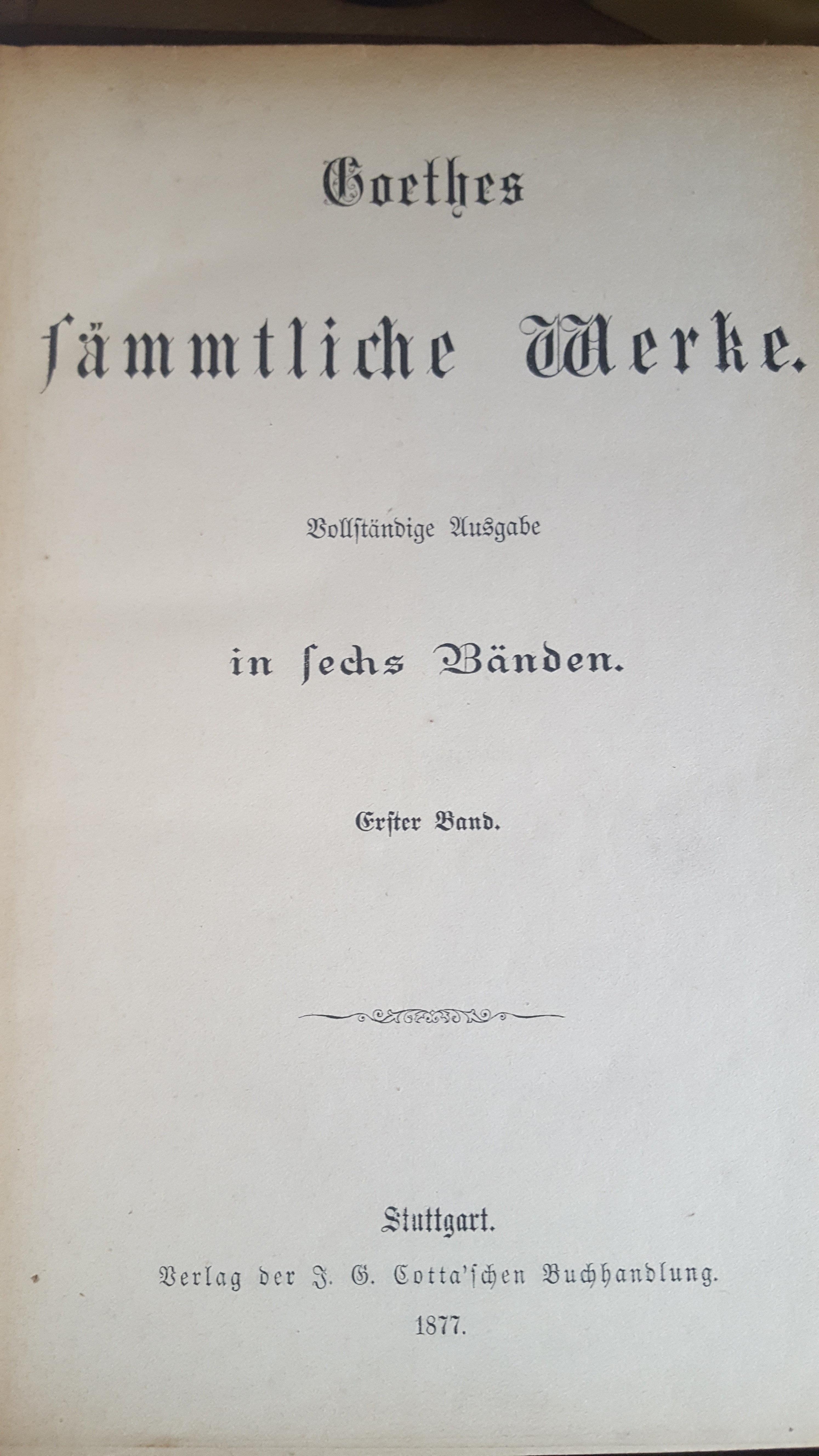 Goethes sämmtliche Werke 1877