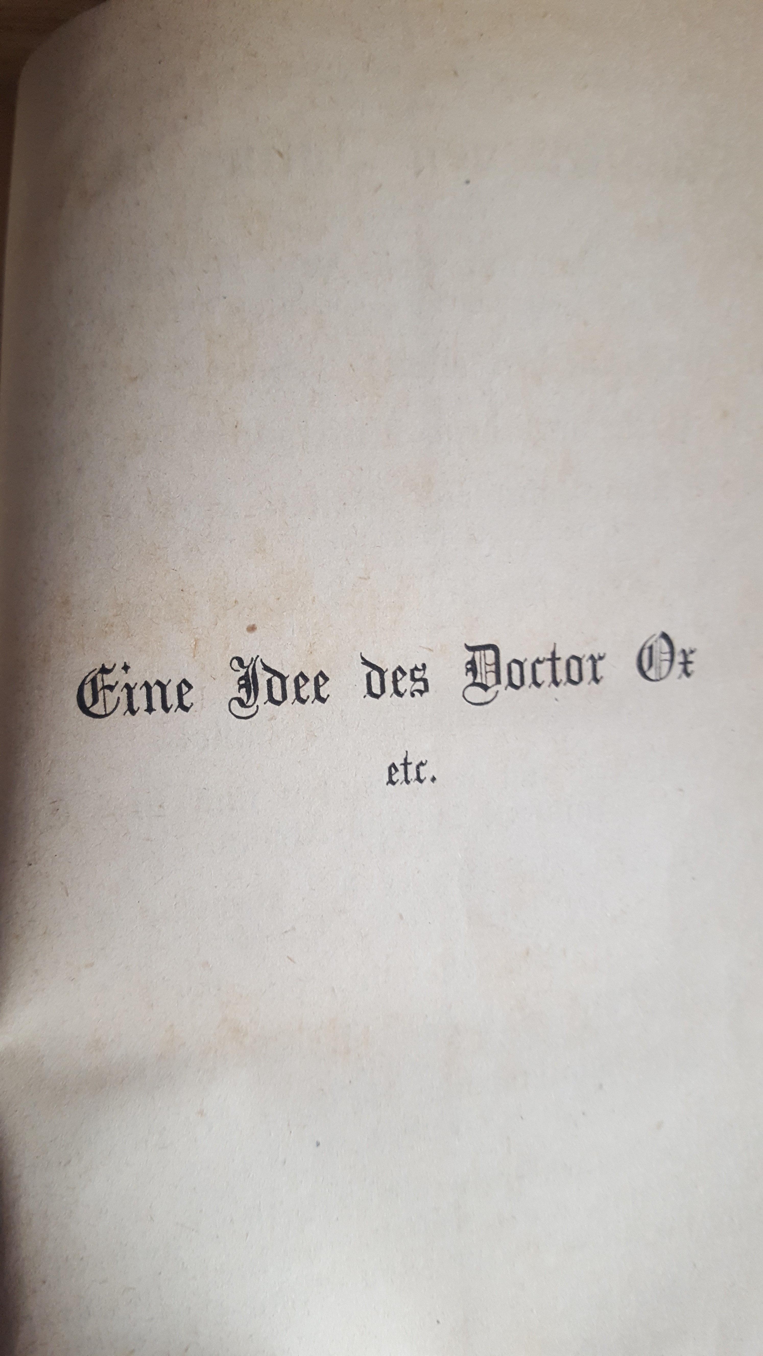 Julius Verne`s Schriften Band 20 Eine Idee des Doctor Ox,  1875