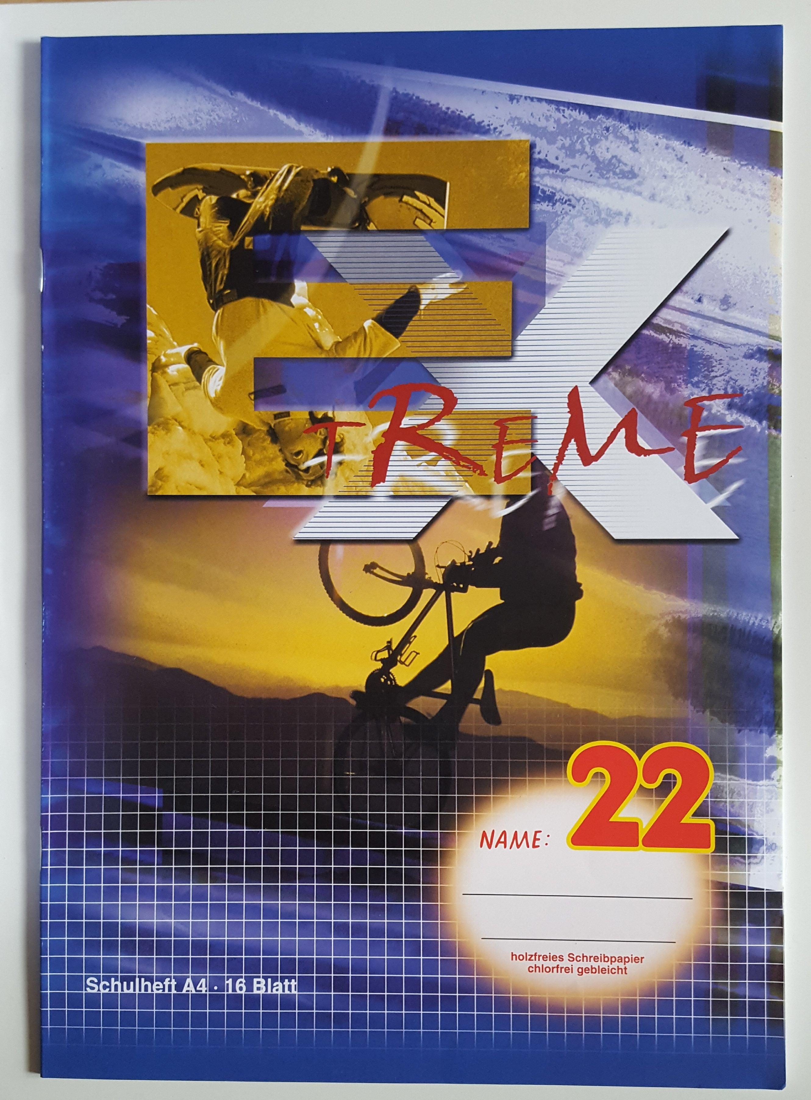 5 Stk. EXREME Schulheft A4 Randlos kariert  12 Blatt      Lineatur  22 300