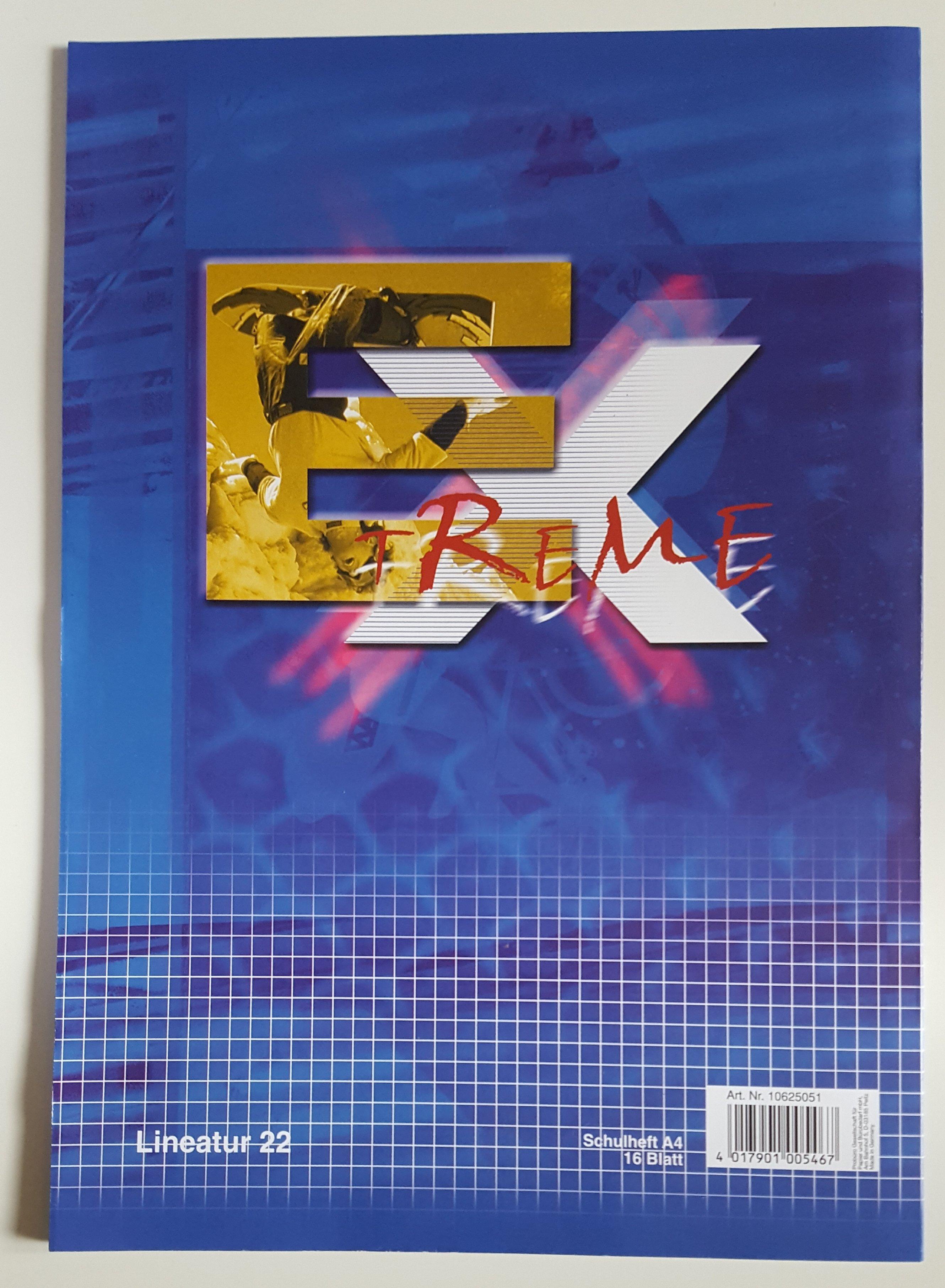 5 Stk. EXREME Schulheft A4 Randlos kariert  12 Blatt      Lineatur  22