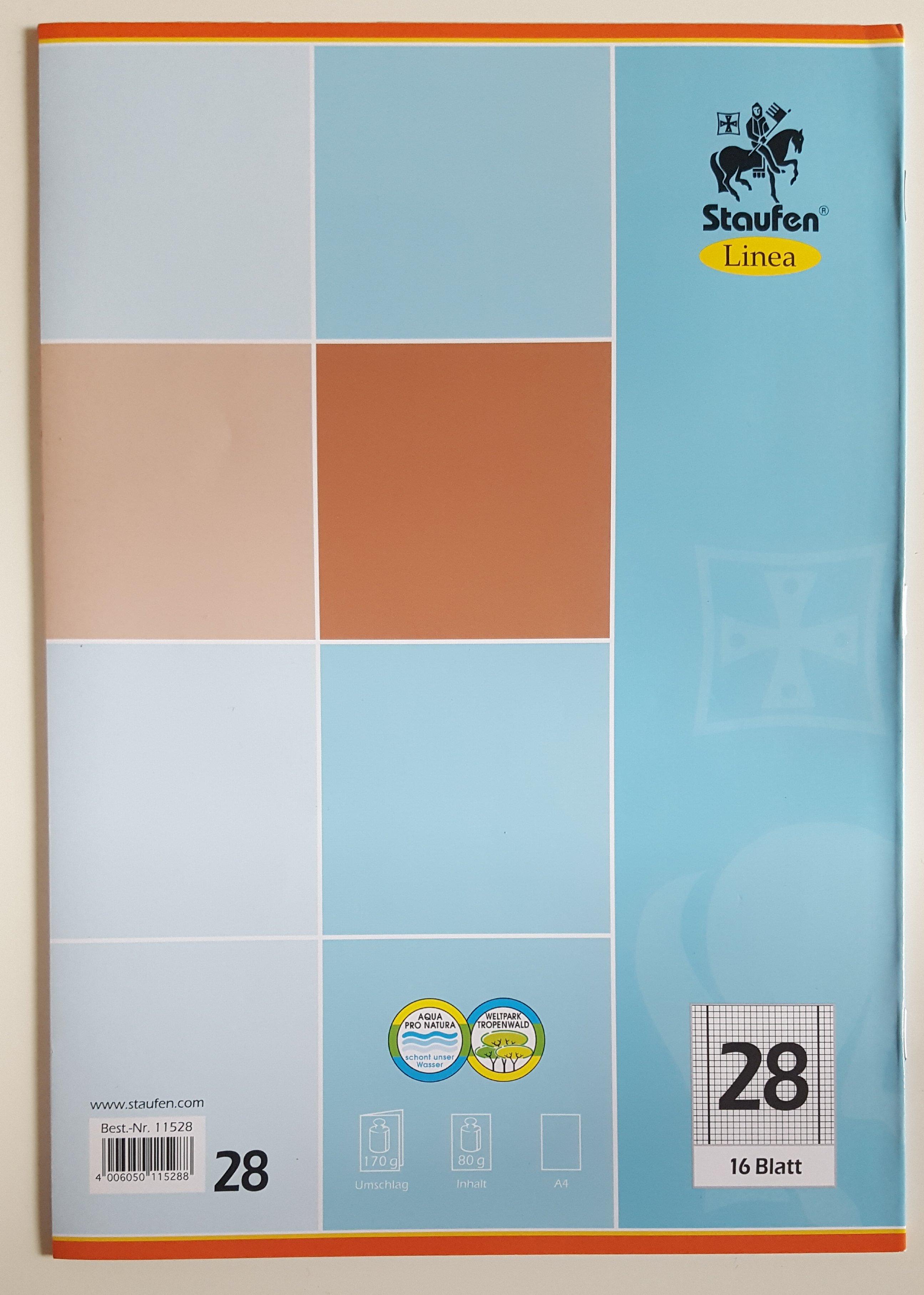5er Set Schulheft  Staufen Linea  DIN A4 16.Blatt Lineatur 28  kariert Innen und Außenrand