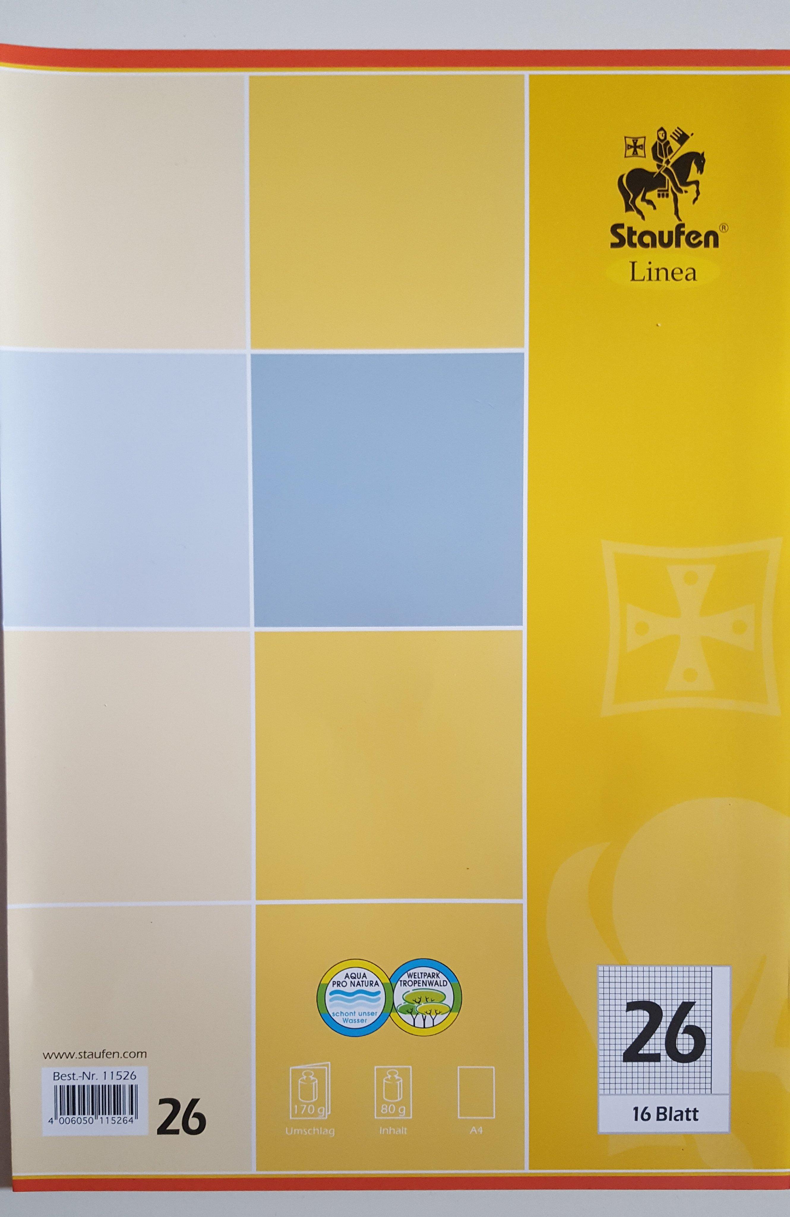 5er Set Schulheft Staufen Linea DIN A4 16 Blatt kariert Lineatur 26