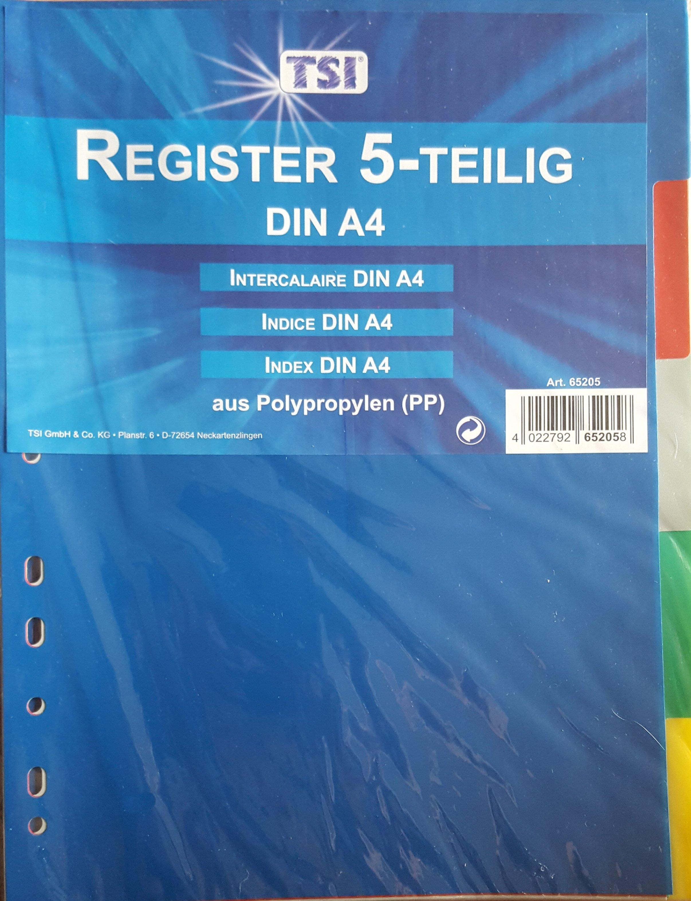 Ordnerregister TSI  5 -Teilig DIN A4 5-farbig 406