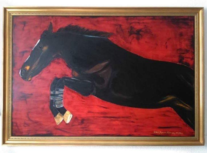 """""""Springpferd""""                             Öl Gemälde 500"""