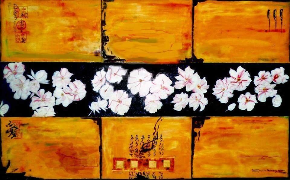 """Pfingstblumen""   Öl Gemälde mit Blattgold 501"