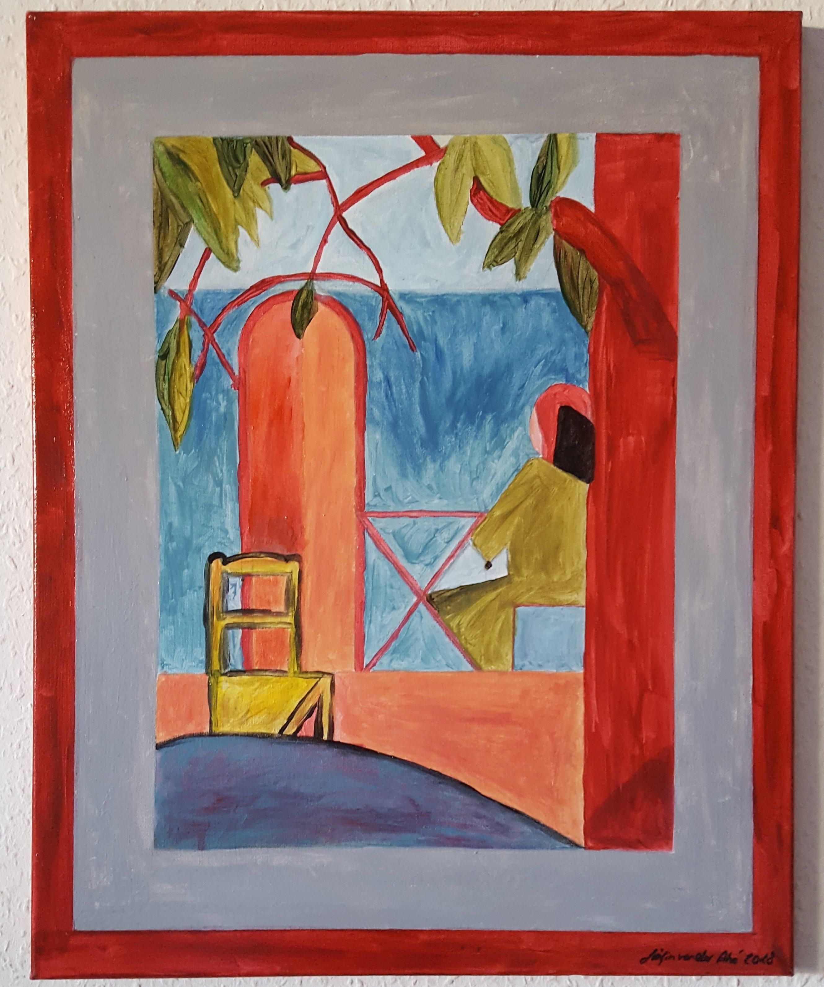 """Acyrl Gemälde """"Sitzende  Frau am Tisch""""   40X50 cm X 1,5 cm 507"""