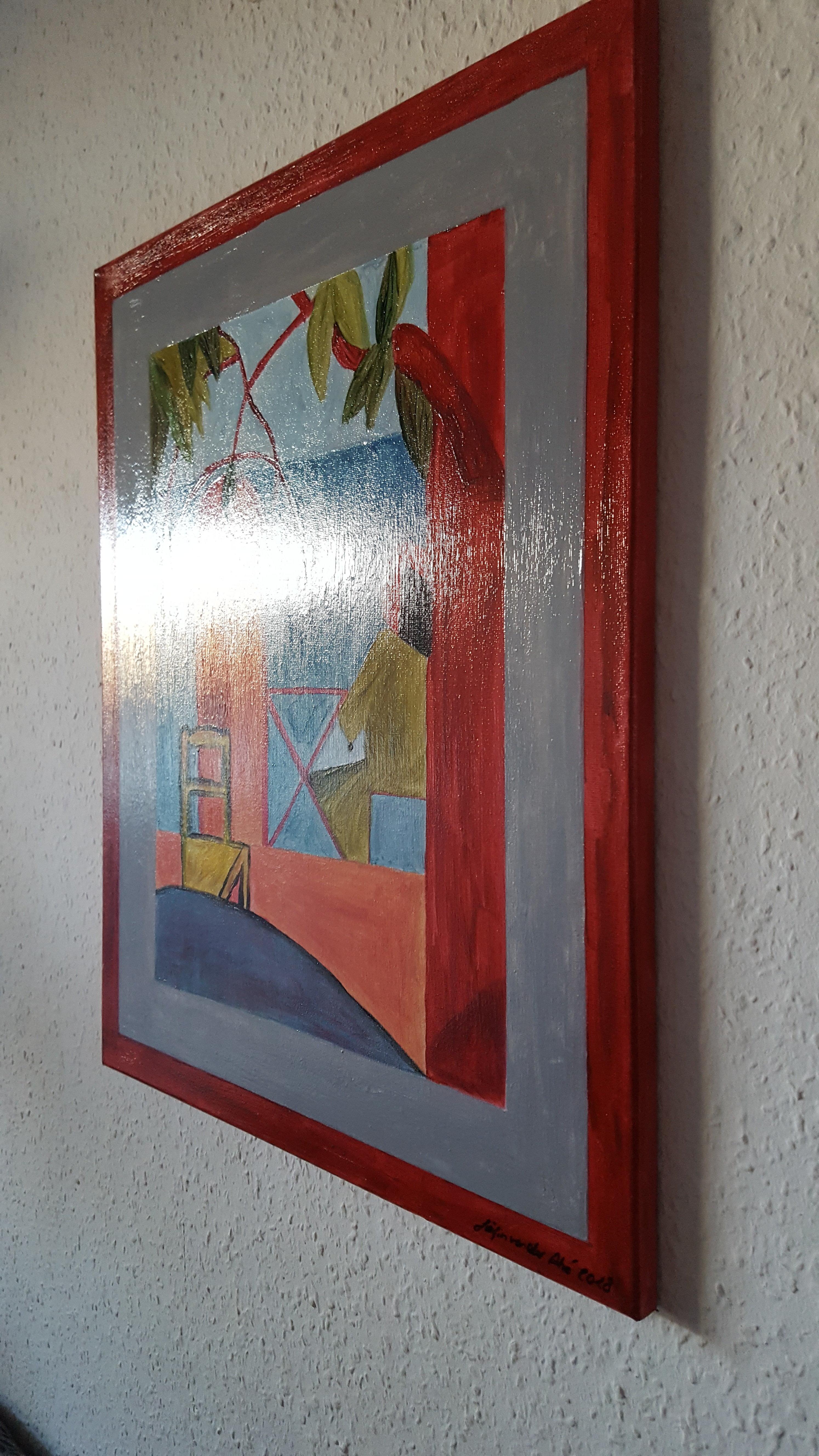 """Acyrl Gemälde """"Sitzende  Frau am Tisch""""   40X50 cm X 1,5 cm"""