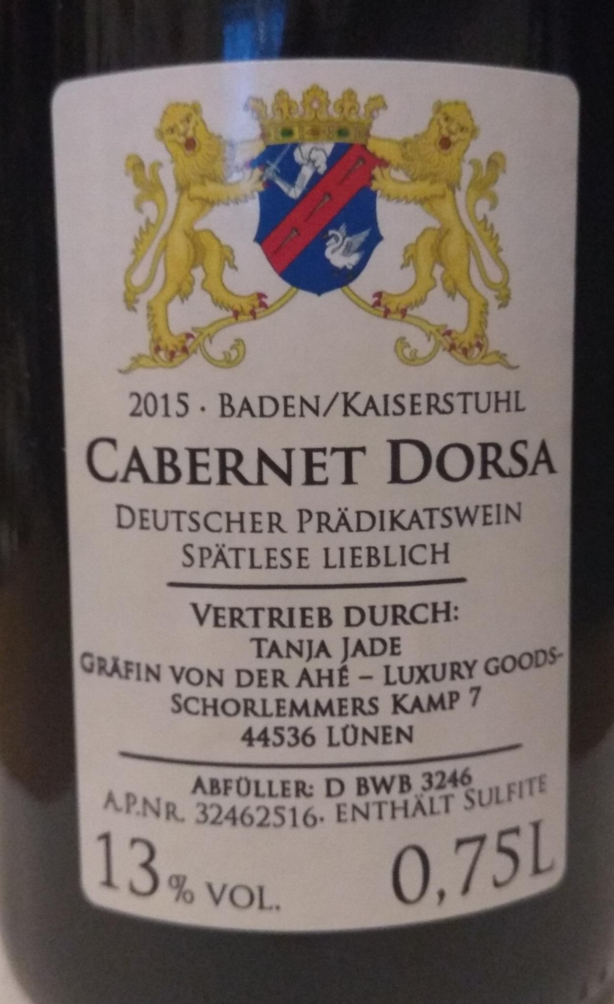 CABERNET DORSA SPÄTLESE 2015 LIEBLICH   Gräfin von der Ahé®