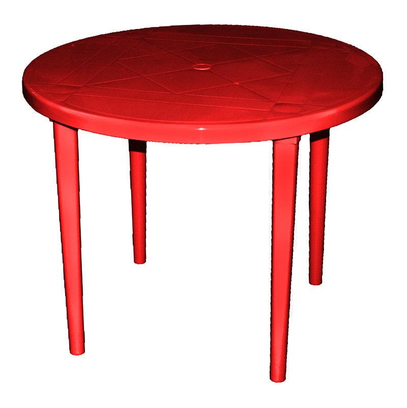 Пластиковый круглый стол (красный) 00393