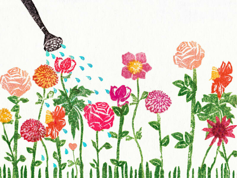 Postkarte Giesskanne Gartenblumen