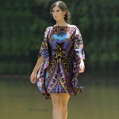 Retro Graphic Caftan Dress