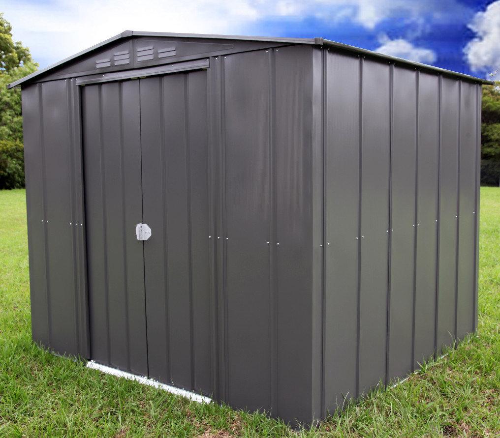 slate grey 6 x 7 double sliding doors - Garden Sheds 6x7