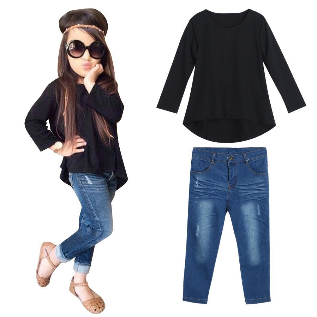 Kids Baby Girls Solid Color Long Sleeve T Shirt Jeans Denim Pants Outfit Set