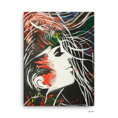 Canvas 'Hair in the wind' by J.M. Art