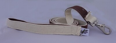 Cotton Double Layer Dog Leash - Brown/Natural (1