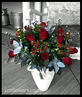 Red or White Roses in Pottery JF18