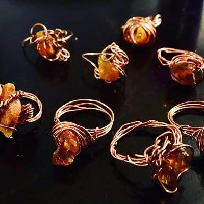 Amber Copper Wire Rings