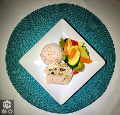 Chicken, Rice Pilaf and Mixed Vegetables