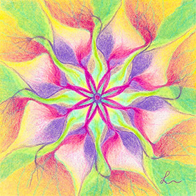 Lysel Mandala 'Verzachten' (wenskaart of originele tekening)