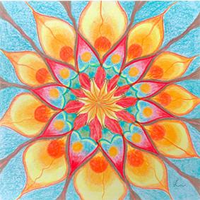 Lysel Mandala 'Genieten' (wenskaart, print of originele tekening)