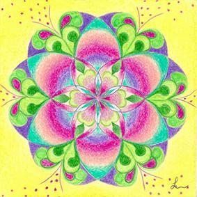 Lysel Mandala 'Zaaien' (wenskaart, print of originele tekening)