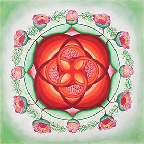 Lysel Mandala 'Het Leven gedragen diep in Moederschoot' (wenskaart, print of originele tekening)