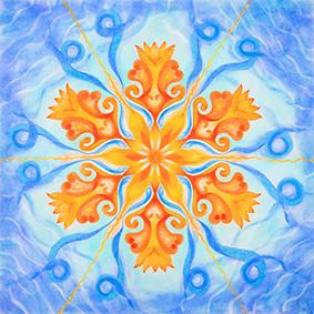 Lysel Mandala 'Dansend op de golven van het Leven'  (wenskaart, artprint of orignele tekening)