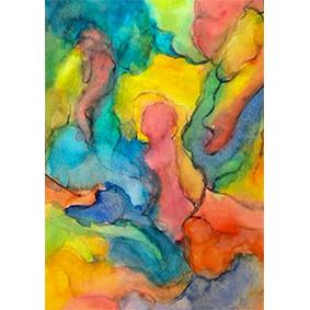 Lysel Art Omarmd (wenskaart of origineel schilderij)