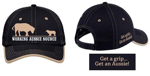 Working Aussie Source Ball Cap Hat - Navy and Tan Australian Shepherd