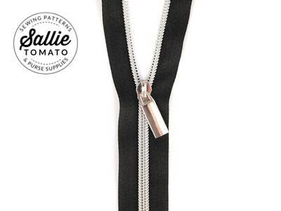 Sallie Tomato #5 Zippers by the Yard Black With Silver Coils SaToZipB+S