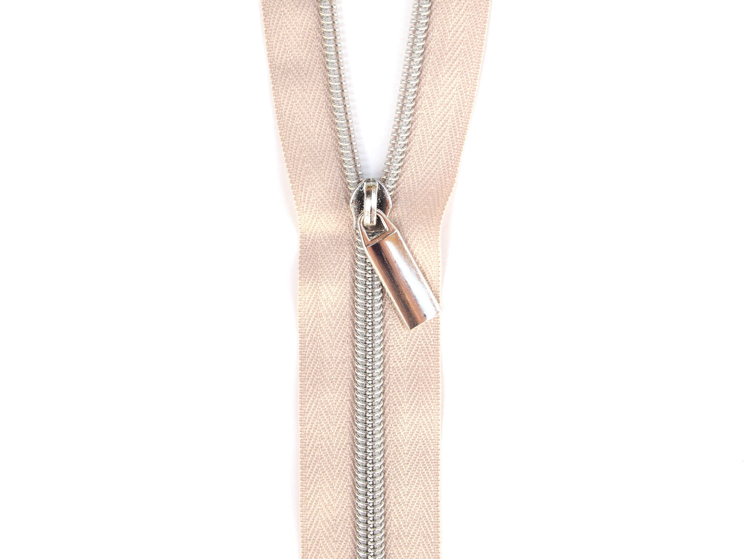 Sallie Tomato #5 Zippers by the Yard Beige With Silver Coils SaToZipBe+S