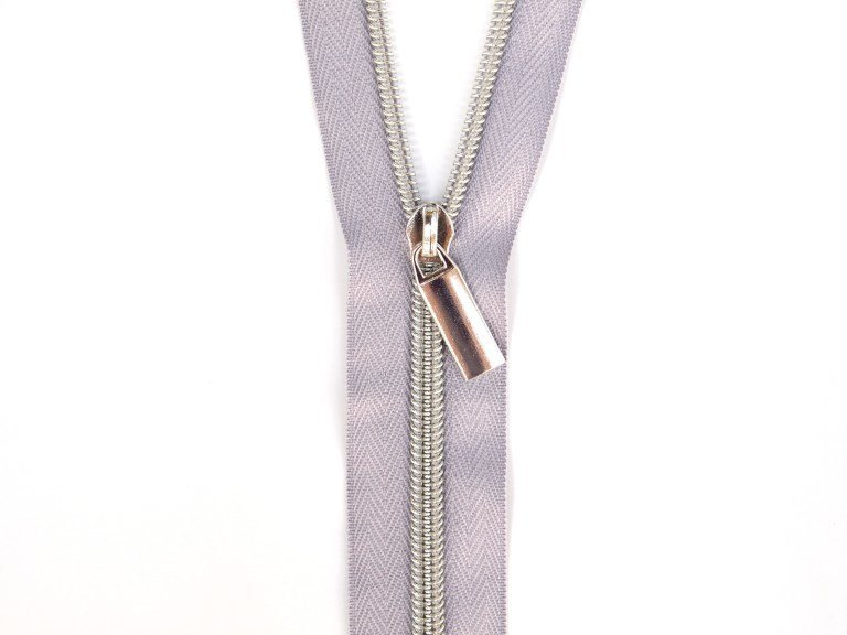 Sallie Tomato #5 Zippers by the Yard Grey With Silver Coils SaToZipG+S