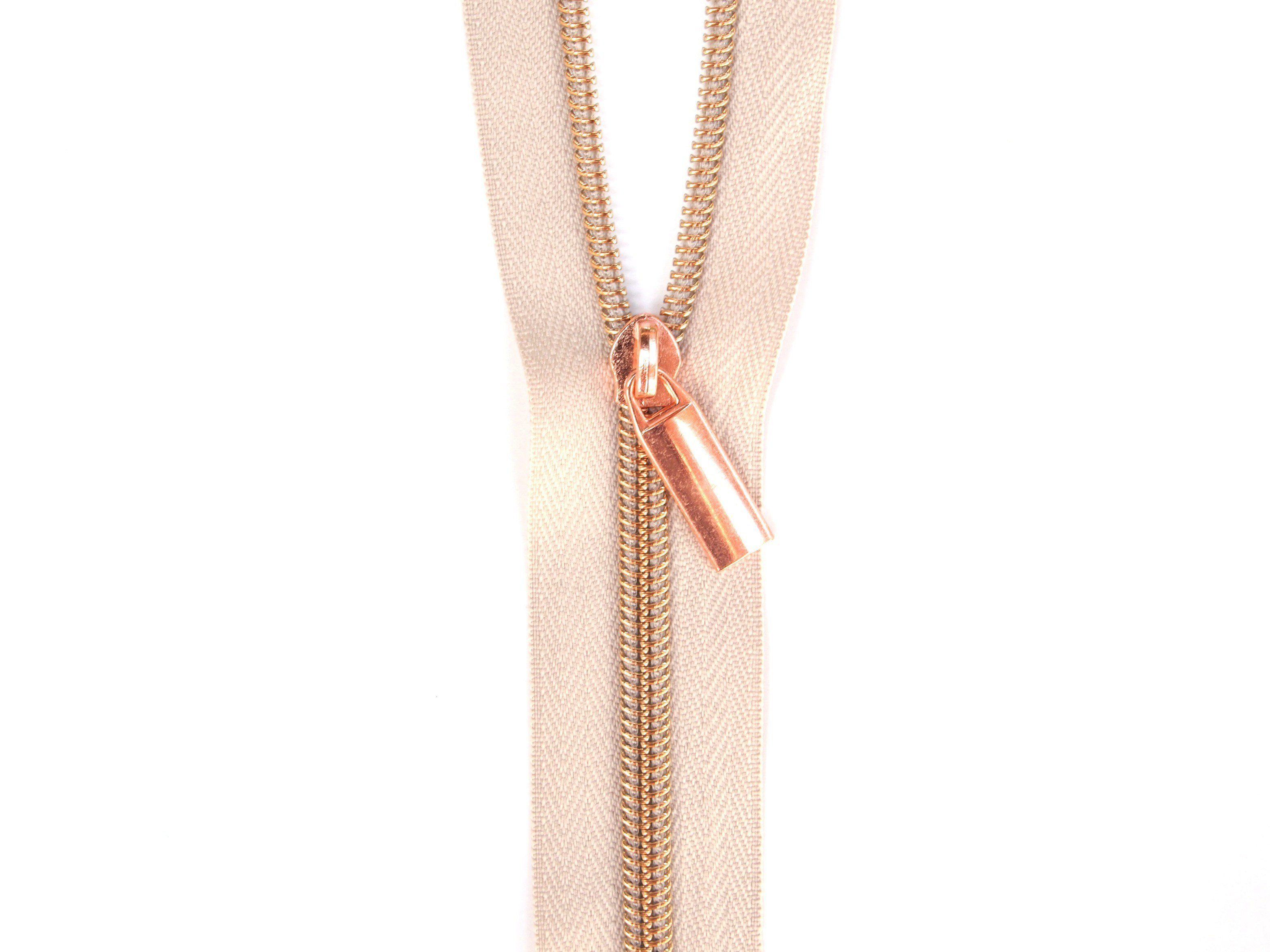 Sallie Tomato #5 Zippers by the Yard Beige With Copper Coils SaToZipBe+C