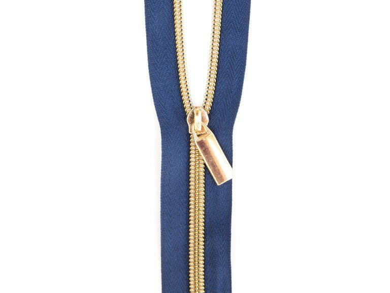 Sallie Tomato #5 Zippers by the Yard Navy With Gold Coils SaToZipN+G