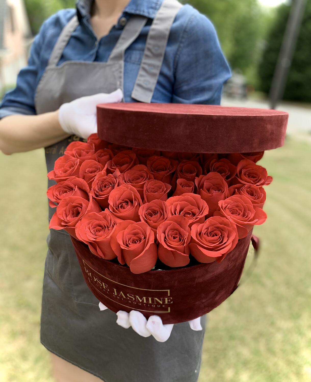 Burgundy Velvet Box (Up To 4 Dozen Roses)