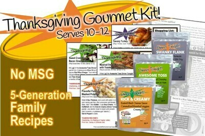 THANKSGIVING GOURMET KIT Pre-measured healthy whole spice packets & recipes: Savory Turkey, Flavorful Mashed Potatoes, Sweet Potatoes with Pecan Crumble & Cranberry Bacon Green Salad. Serves 10-12!