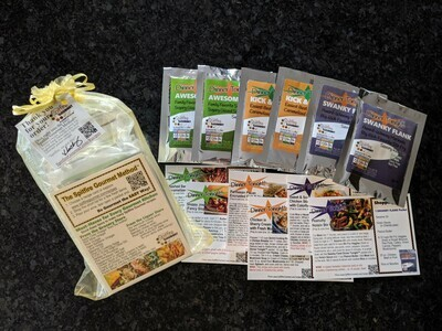 6-PACK SAMPLE KIT Recipes & pre-measured color-coded packets to cook large healthy gourmet family dinners for 6 nights! No-MSG. FREE shipping