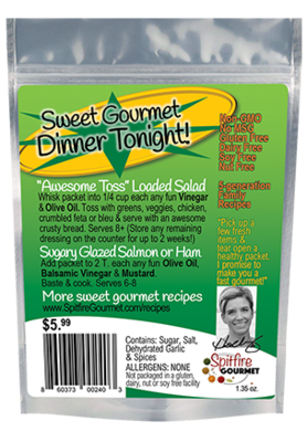 Awesome Toss (with several color-coded online recipes, No-MSG) Makes a family dinner that serves 6-8