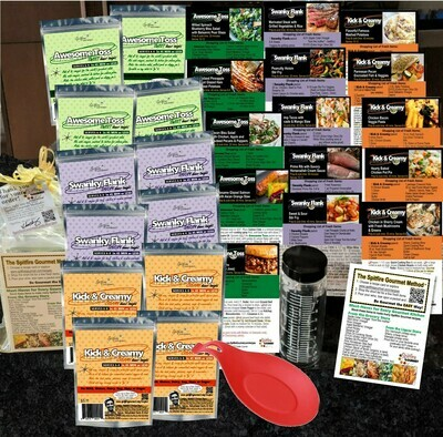GOURMET KIT - 35% OFF! Cook family dinners for 12 NIGHTS ~12 color-coded packets (No MSG) ~Full recipe card set ~BPA-Free Silicone Spoon Rest/Hot Pad ~Glass Salad Shaker ~Gift bag ~FREE Shipping
