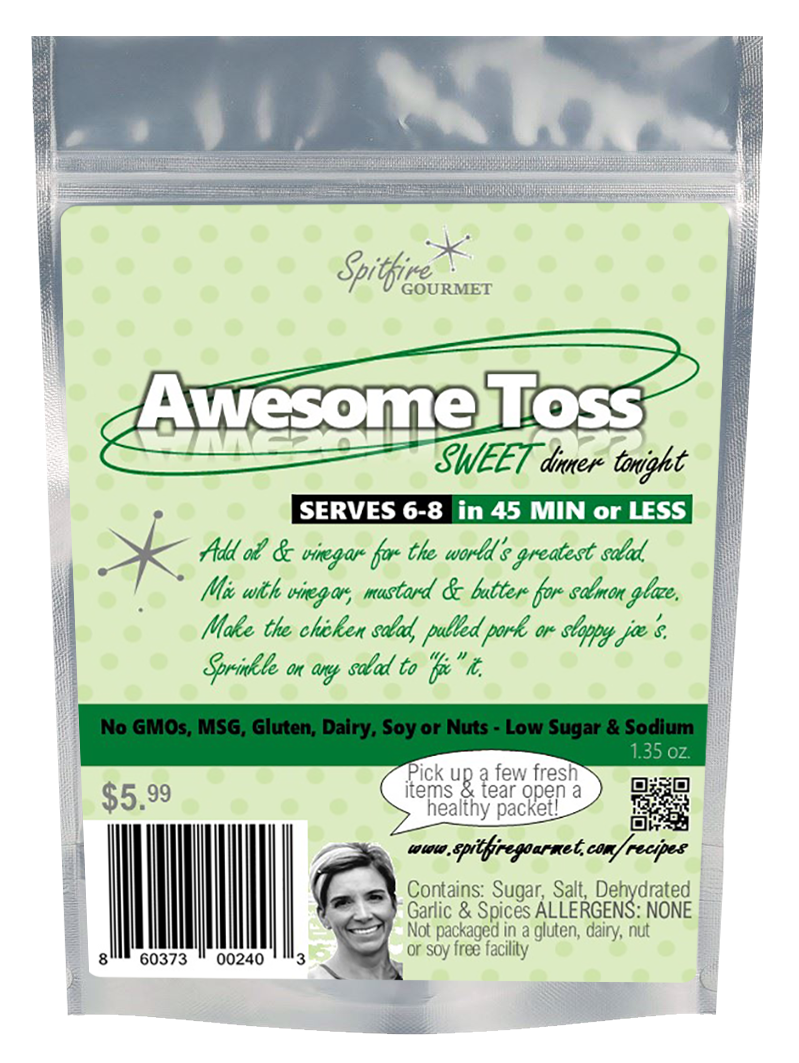 Awesome Toss (Pre-measured packet with several color-coded online recipes, No-MSG) Makes a family dinner that serves 6-8
