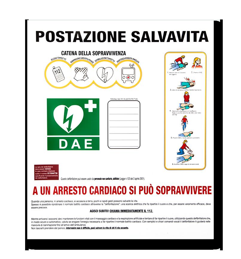 Cartello segnaletico e indicazione primo soccorso
