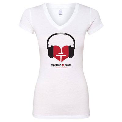 Women's Maestro Cares's Music Heart V-Neck Shirt (White) 00000