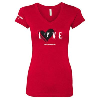 Women's MC Loves Marc Anthony V-Neck Shirt (Red) 00001
